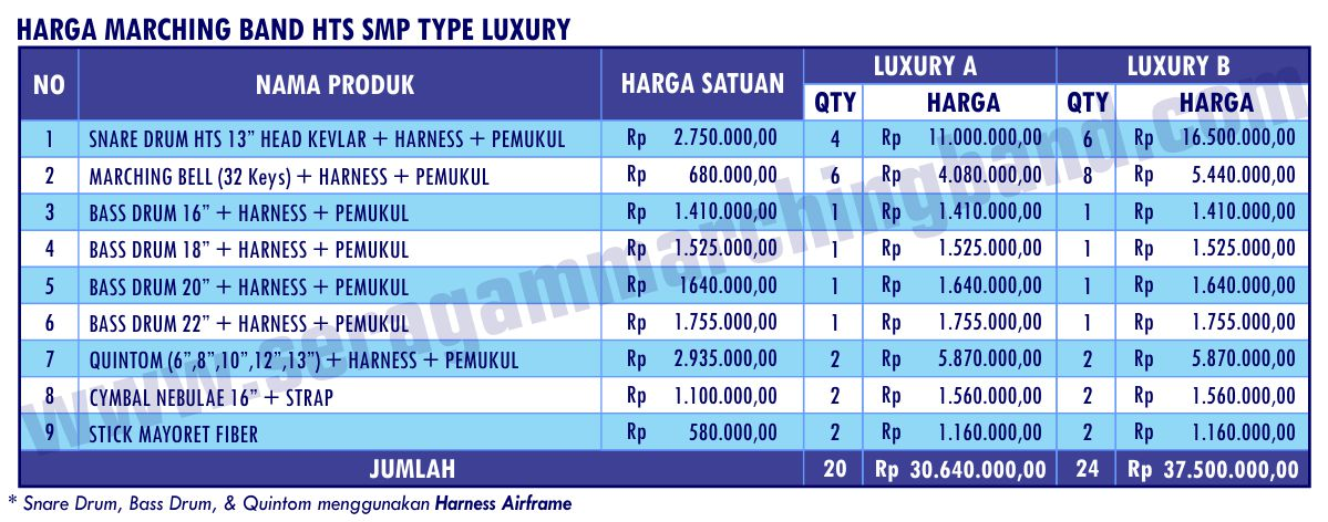 Daftar Harga Marching Band HTS SMP Luxury 1