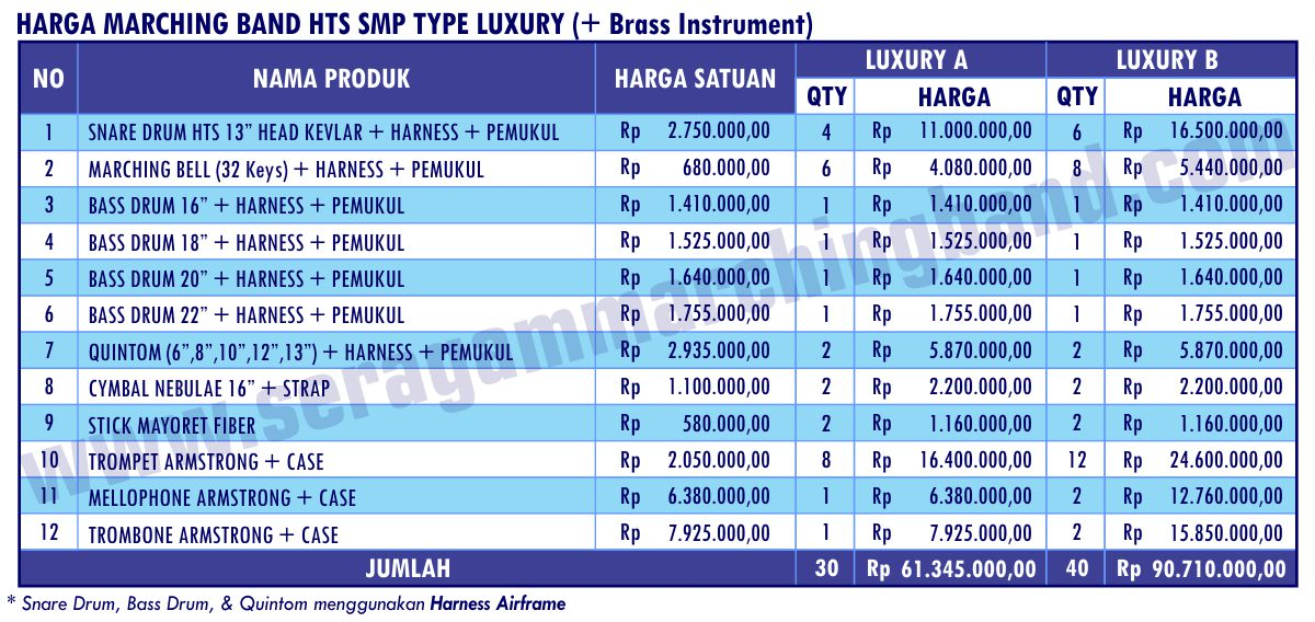 Daftar Harga Marching Band HTS SMP Luxury 2