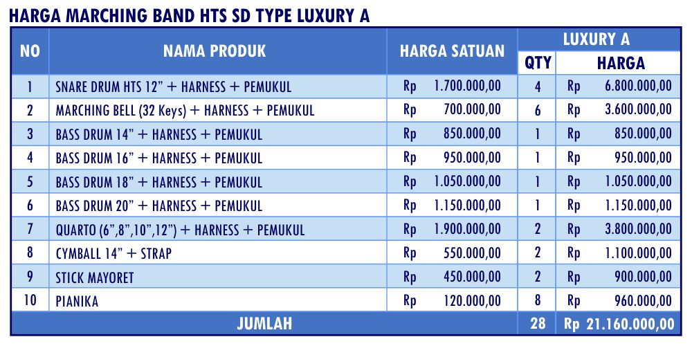 HARGA MARCHING BAND HTS SD LUXURY A_Mar17