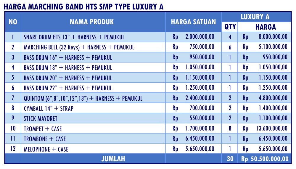 HARGA MARCHING BAND HTS SMP LUXURY A_Mar17