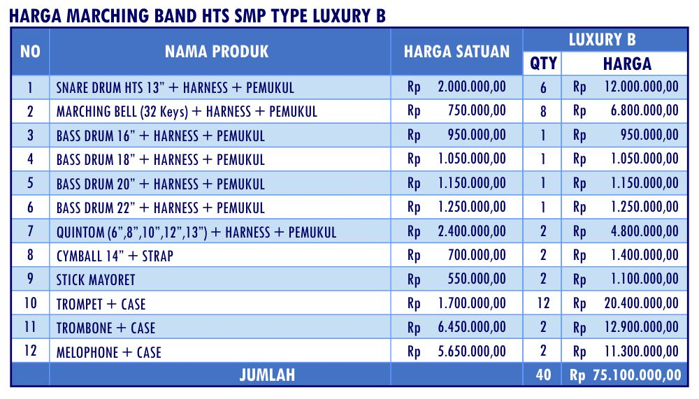 HARGA MARCHING BAND HTS SMP LUXURY B_Mar17